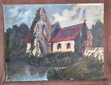 Intéressante peinture à l'huile signée de 1920 - Chapelle