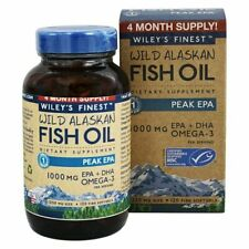 Wild Alaskan Fish Oil 1000mg EPA + DHA Peak EPA, 120 Softgels By Wiley's Finest