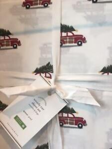 Pottery Barn KIDS100% Organic Cotton Woody Car Holiday FULL Sheet Set  Christmas