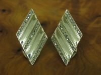 925 Sterling Silber Ohrclips mit Markasit Besatz / Echtsilber / 9,8g