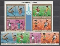Penrhyn - Mail Yvert 125/32 + H.22 MNH Deportes. Olympics Of Moscow