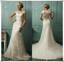 New White/Ivory Lace Wedding Dress Bridal Gown Custom Size 4 8 10 12 14 16++