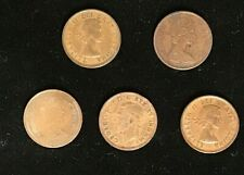 Vintage 1943 CANADA One Cent 1¢ Nickel COIN KGVI PLUS QE11 X 5 coins