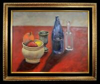Original Still Life Oil Painting with Bottles, a Chalice, and a Bowl of Fruit