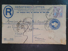 1901 Q V 2d Small Reg letter uprated 5d stamp Jersey to France