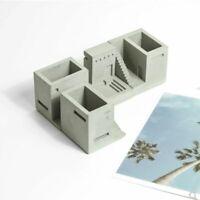 Miniature Concrete Flowerpot City Silicone Mold Cement Pen Holder Planter Mould