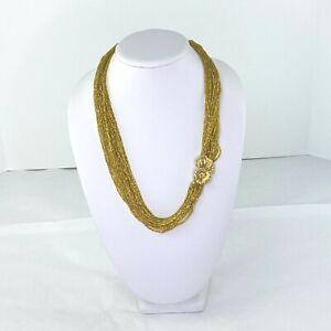 Vintage Gold Tone Multi Strand Seed Bead Necklace Flower Clasp
