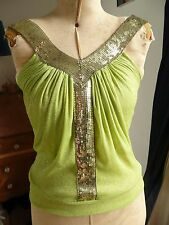 Traffic People Green Glittery Sparkly Gold SequIn V Neck Grecian Style Top S