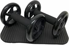 Abdominal Exercise Wheels Pair & Thick Knee Pad Mat ideal Body Fitness Training