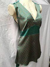 NWOT Penguin by Munsingwear Green Red Silk Orange Blouse Top 6