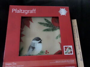 Pfaltzgraff Wintertime Birds Decal Glass Platter with Cardinals & chicadees