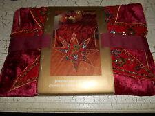 NEW PIER 1 Christmas Red Felt Jeweled Star Table Runner Sequin Star