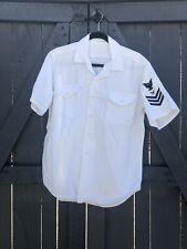 WW2 USN Uniform Shirt White With Patch 100% Cotton USMC USAF KOREAN VIETNAM WAR