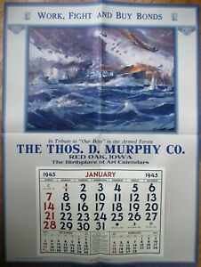 """WWII Patroitic 1945 Advertising Calendar / 31"""" x 42"""" Poster - Military Ship"""