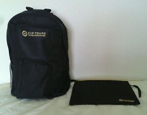 CIE Tours International backpack and money bag