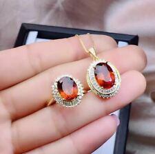 Natural Garnet 925 Sterling Silver Plated Rose Gold Pendant Necklace Ring Set