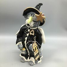 Blue Sky Clayworks Halloween Gray Cat Witch Costume Charlie Tealight Holder 9""