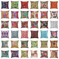 Printed Kantha Work Decorative Hand Stitched Cotton Square Cushion Cover Decor