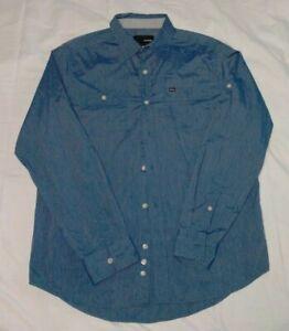 Hurley Mens Long Sleeve Shirt Size 2XL Blue Pockets