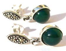 2x Grünachat Kugelcabochon 4x Markasit 925 Silber Ohrringe IMPRESSIVE GREEN