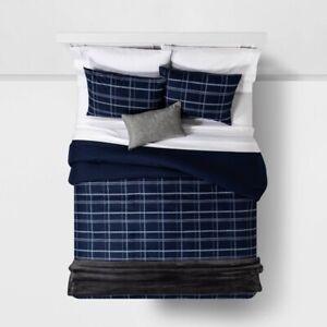 "4pc ROOM ESSENTIALS Plaid in a Bag Comforter Set | Blue | TWIN XL | 66""x94"" | 🆕"