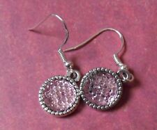 "Baby  Pink Sparkle Earrings on Silver plate fish hook wire ""535"" UK Post!"