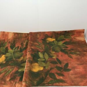 "Pottery Barn Pillow Cover Set of 2 Pears Floral Red Green 24""x24"" Cotton"