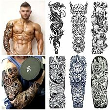 Temporary Tattoos Full Arm Set (6 Sheets) Extra Large Realistic Black Fake Body