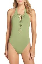 Seafolly Active Lace-Up Halter Maillot Moss Swimsuits One Piece USA Sz 10 1003