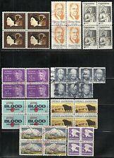 U.S. Stamps used blocks - group of 9 - #1