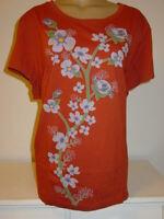 Sahalie Saturday Market Tee Rust T Shirt Knit Top Lilac Floral Print-3X NEW
