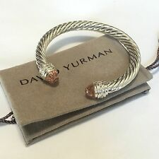 David Yurman Sterling Silver Cable Morganite & Diamonds 7mm Cuff Bracelet
