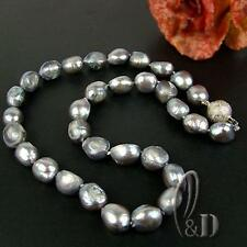Au Seller 10x12mm Huge Barpque Irregular Gray Genuine Pearls Necklace n041-2