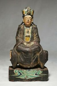Rare Antique Chinese carved wooden figurine - 18th Century  - Qing Din.