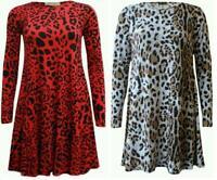 Women Ladies Long Sleeve Leopard Print Flared Skater Swing Dress Top Size 8-26