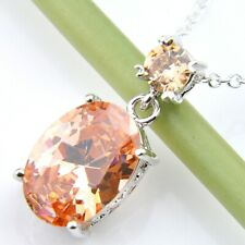 Gemstone Silver Woman Pendants Necklaces Gorgeous Shiny Oval Cut Honey Morganite