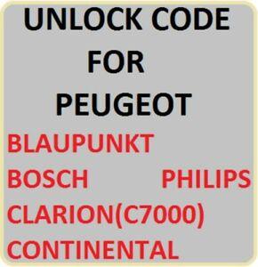 Unlock radio Code PEUGEOT EXPERT BIPPER BOXER BLAUPUNKT BOSCH PHILIP CONTINENTAL