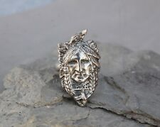 Indian Head Ring Sterling Silver Size 10 1/2 Chief Warrior Brave Native American