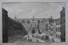 Original antique print LONDON, 'THE GUILD HALL', GUILDHALL, COLE, Maitland, 1756