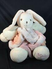 "Kaloo Pink Plush Bunny Rabbit White Chubby Round Baby Stuffed Animal 10"" Plume"