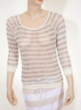 C&C California Womens White Black Stripe Knitted Crewneck Pullover Sweater Top S