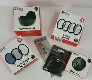 Zeikos 52mm 3 Pcs Filter Kit , Close up lens, 52mm Tulip Hood, Lens Cap and More