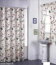 Butterfly Design Shower Curtain Drapes + Bathroom Window Set w/ Liner+Rings  NEW