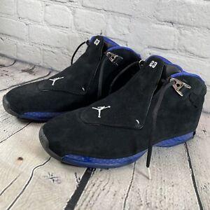 Air Jordan 18 Retro Black Sport Royal Blue Mens Size 10.5 Sneakers AA2494-007