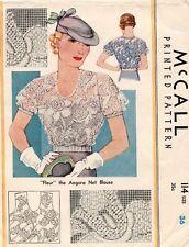 "Rare 1933 VTG McCall ""Fleur"" the Angora Net Blouse Pattern 114 Size 36 UNCUT"