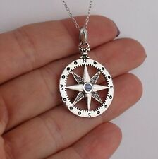 North Star Compass Necklace - 925 Sterling Silver - Pendant Graduation Gift NEW