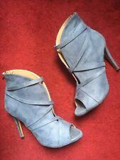 Bottines Bestelle - Pointure 41 - Talon 11cm - Bleu - Aspect Daim - Bout Ouvert.