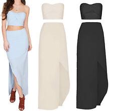 New Women Maxi Skirt Bandeau Wrap Front Crop Top Blouse Co Ord Set  6-14 UK