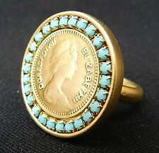 Queen Elizabeth II Ring Gold Plated 24k British Pound Coin Ring Turquoise Sz 6.5
