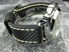 New CARBON Fiber 22mm LEATHER STRAP Band Black with Beige Stitch PAM 22 XP